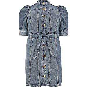 Plus – Blaues Jeanskleid in Minilänge mit Puffärmeln
