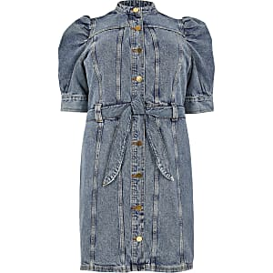 Plus – Mini-robe en denim à manches bouffantes bleue