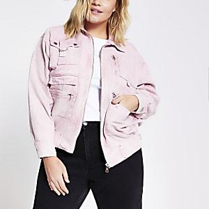 Plus– Veste en denim avec poche sur le devant rose