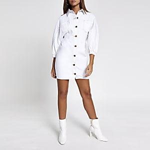Weißes Jeansblusenkleid