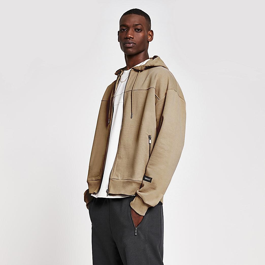 10003° premium dark stone zip up boxy hoodie