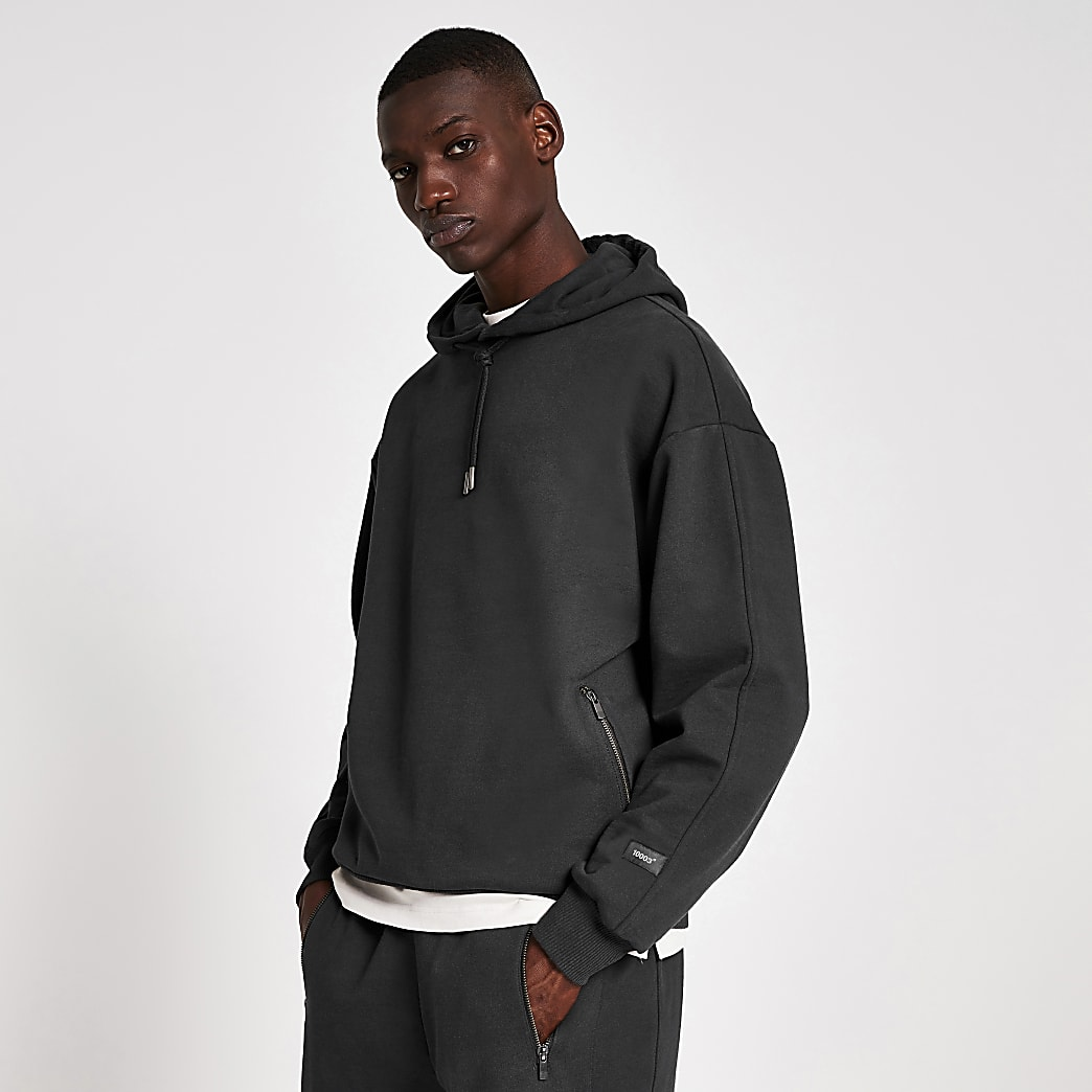 10003° premium washed black boxy fit hoodie