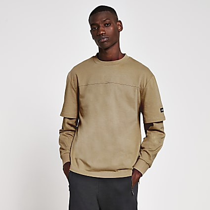 10003° stone double layer long sleeve T-shirt