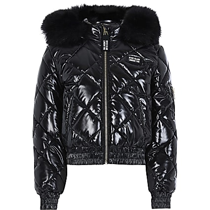 13+ Girls Black High Shine Padded Bomber