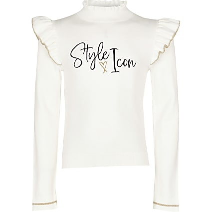 13+ girls ecru 'style icon' long sleeve top
