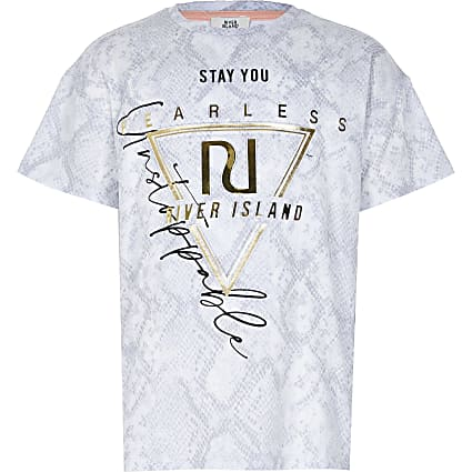 13+ Girls grey RI Active snake print t-shirt