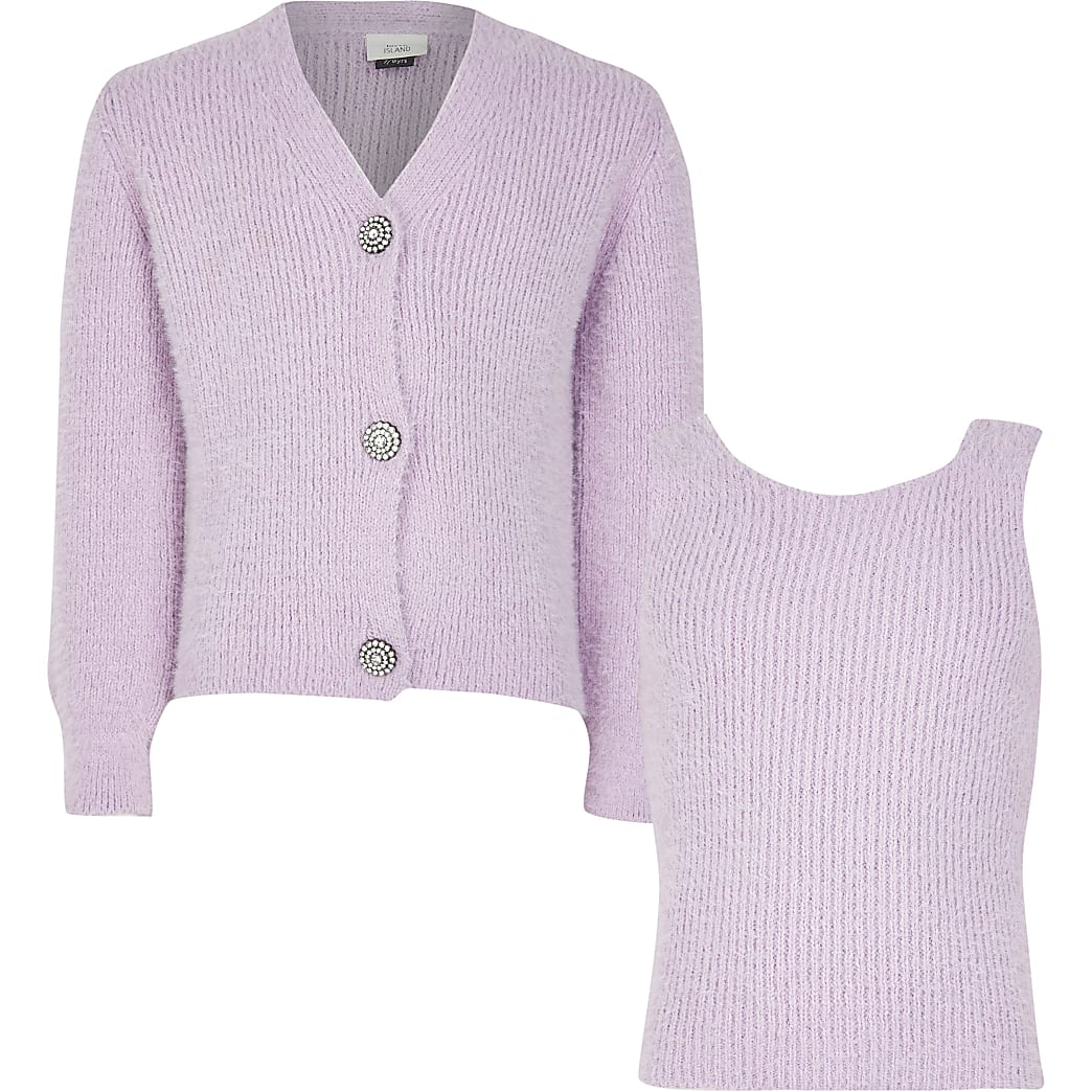13+ girls purple fluffy cami and cardigan set