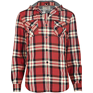Red check hooded shirt
