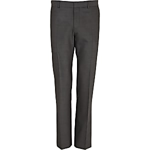 Grey wool-blend slim suit pants