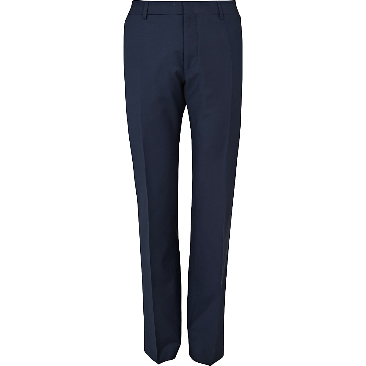 Blue wool blend slim suit trousers