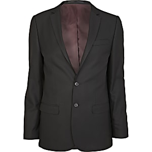 Black smart woven skinny suit jacket