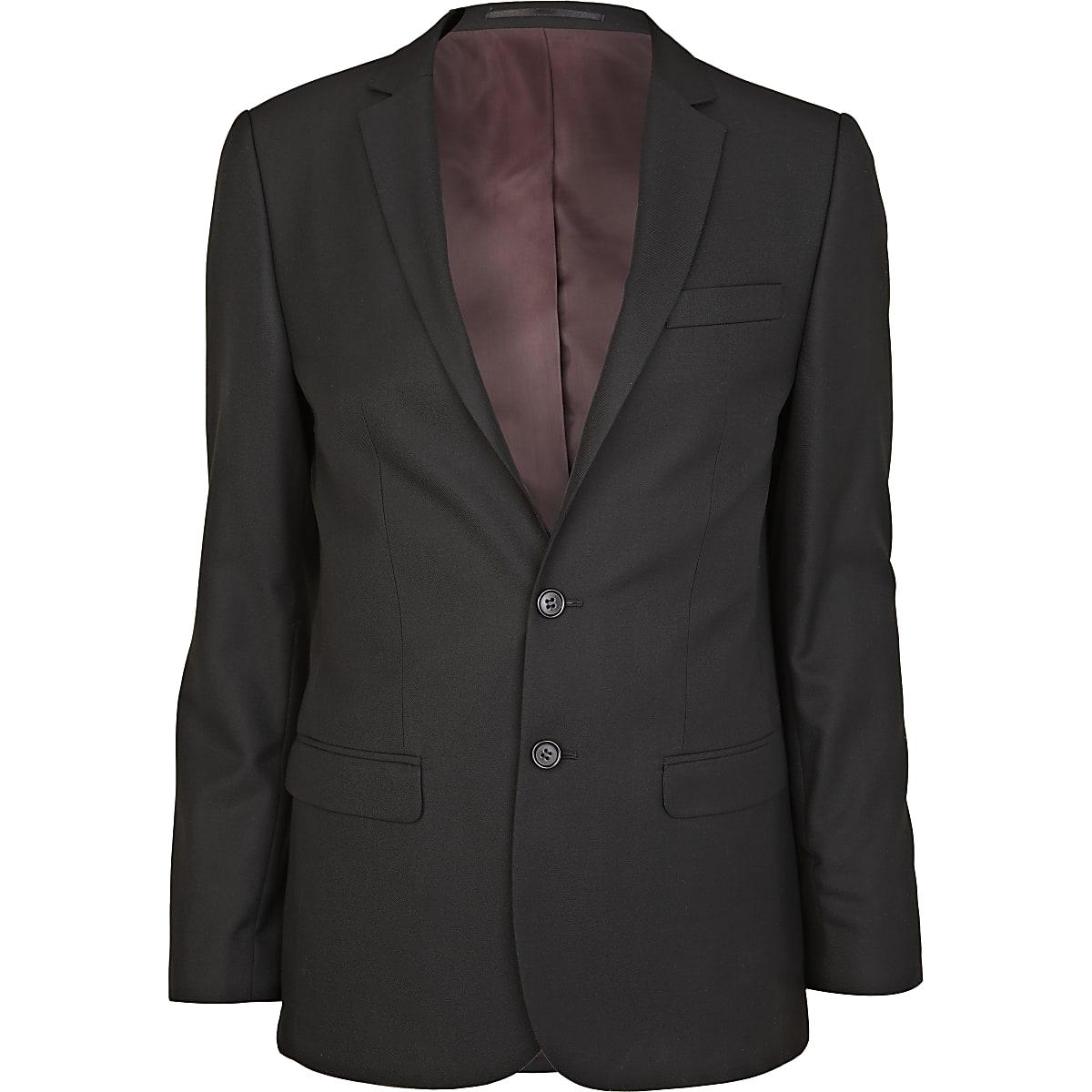 Veste de costume habillée tissée noire coupe skinny