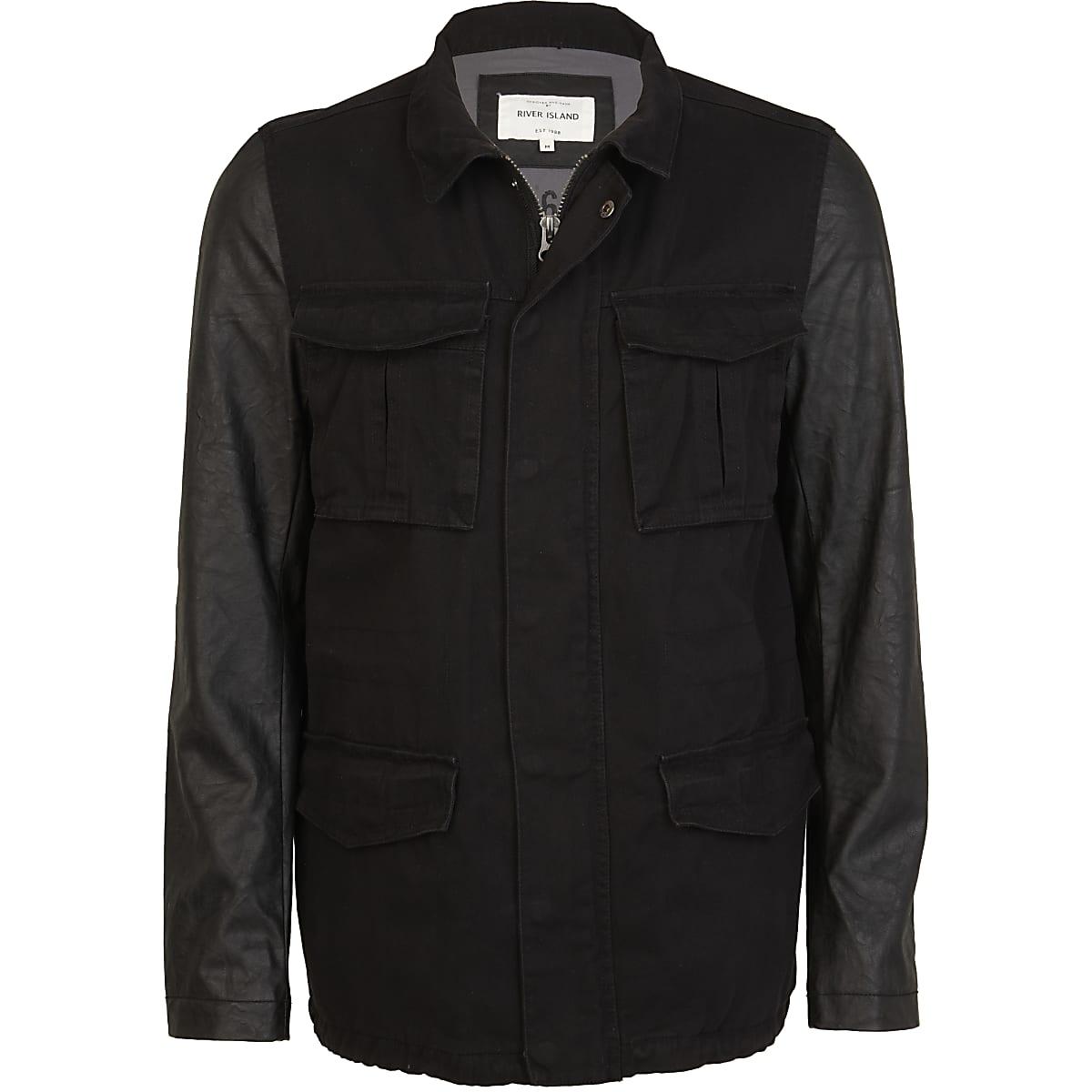 Black leather look sleeve field jacket