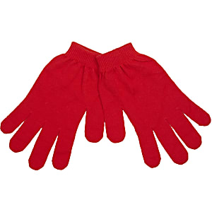 Red classic knit gloves