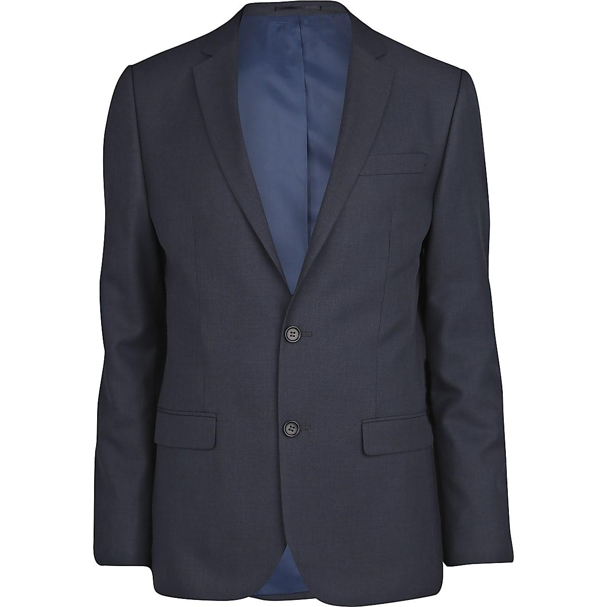Dark blue slim suit jacket