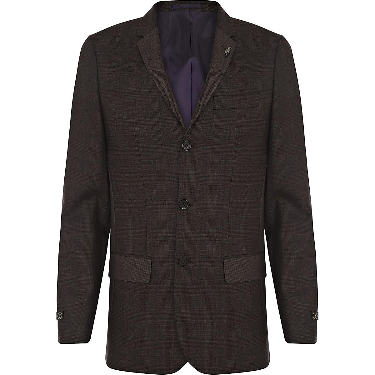 Dark brown check skinny suit jacket