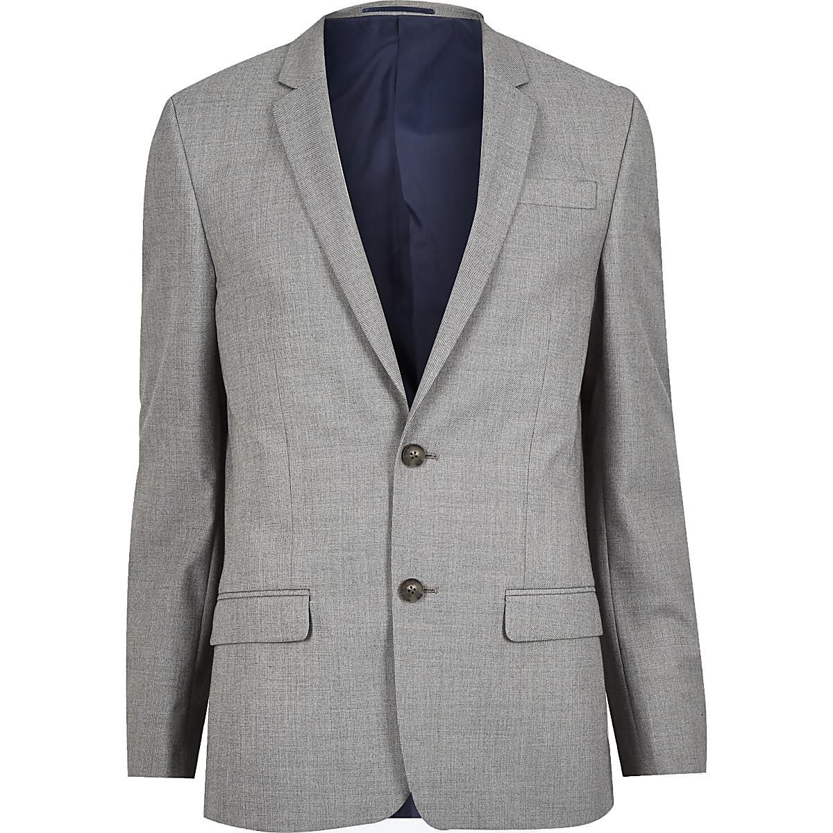Grey slim fit suit jacket