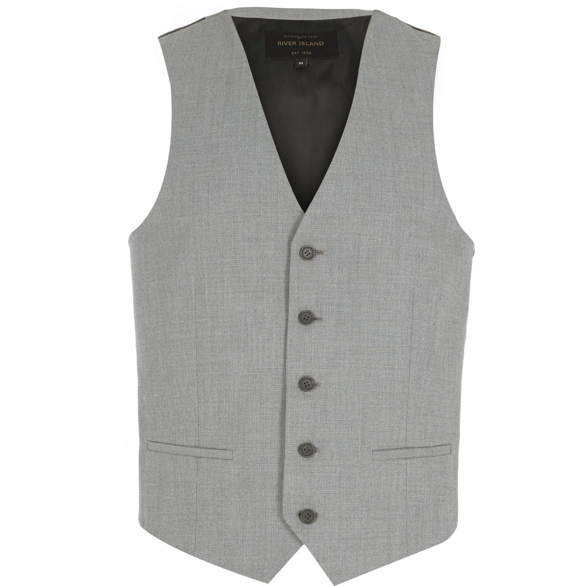 Light grey single breasted waistcoat
