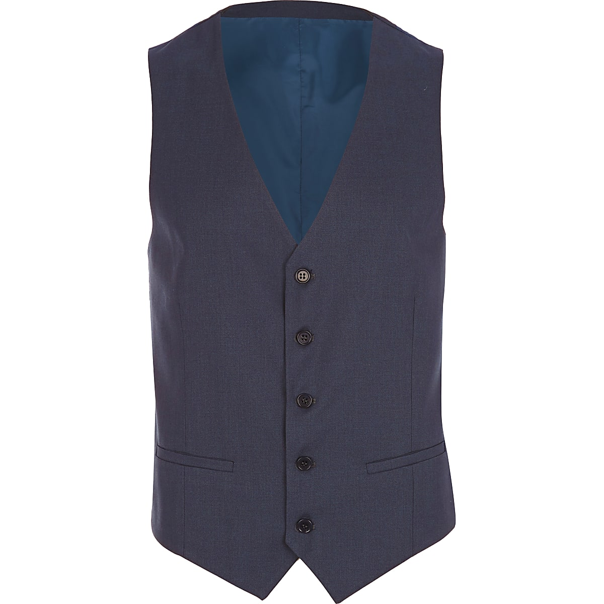 Dark blue single breasted waistcoat