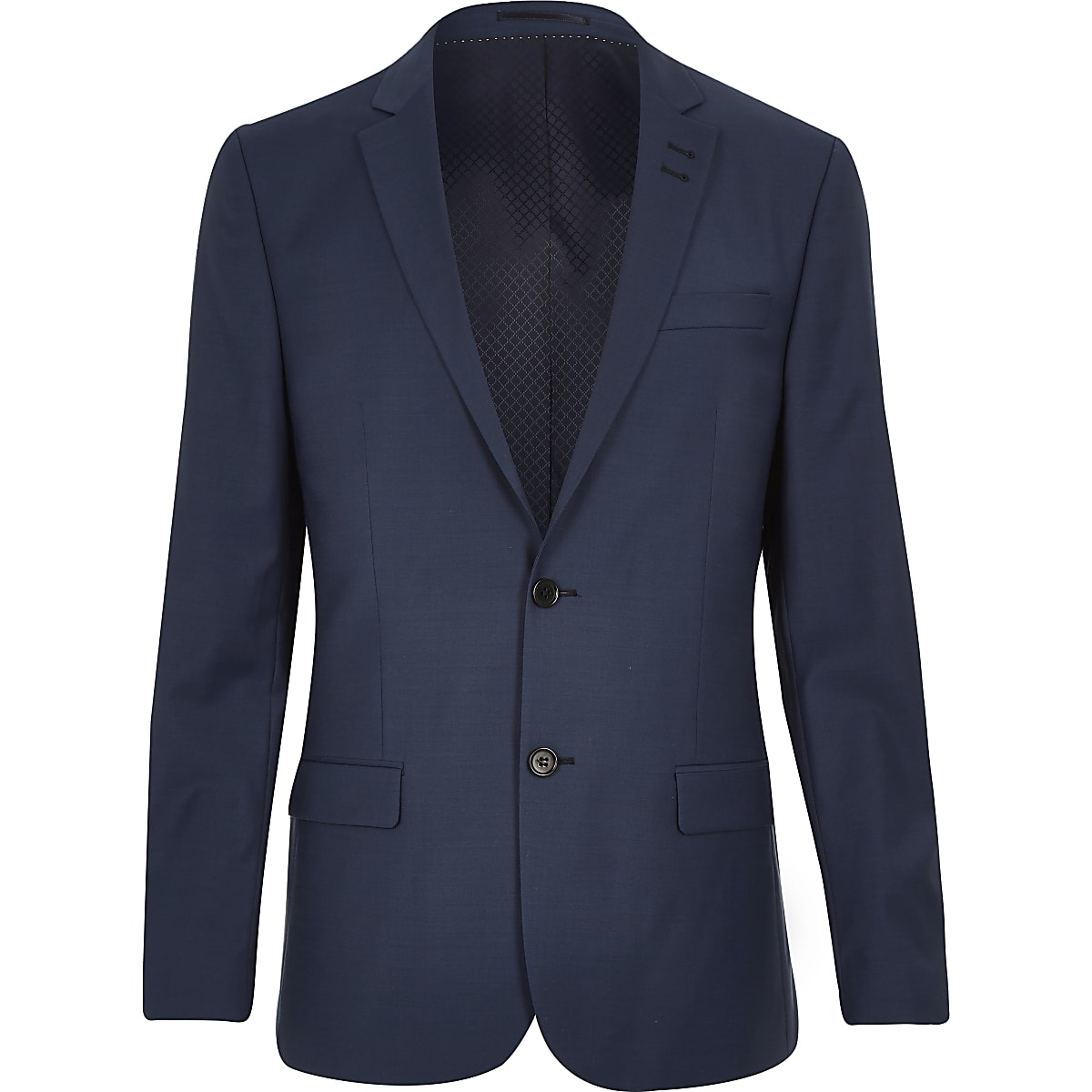 Blue wool blend slim suit jacket
