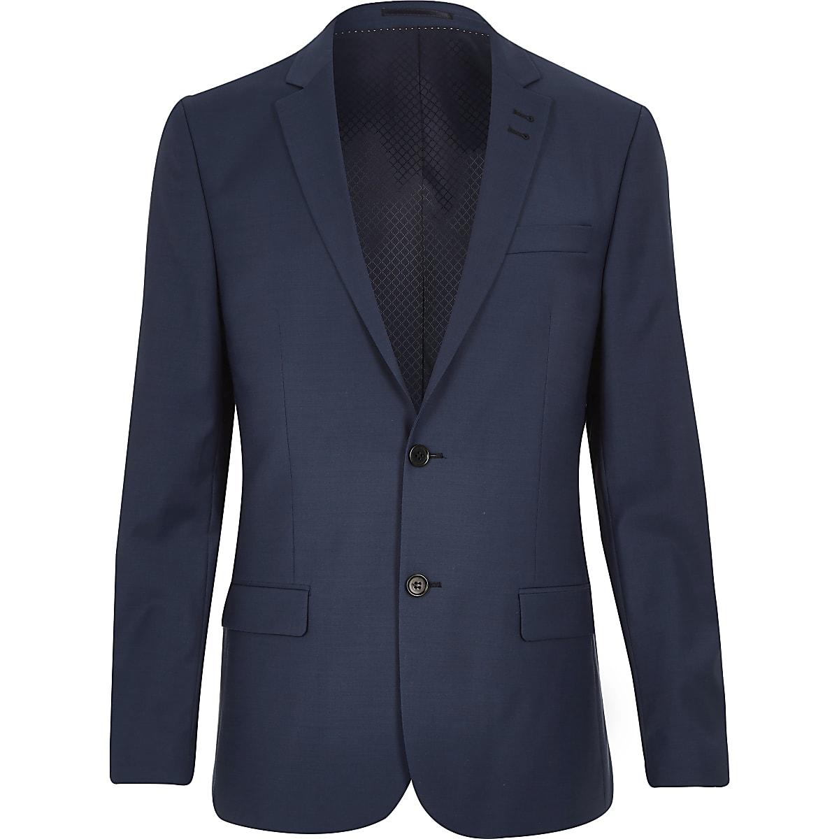 Veste de costume en laine mélangée bleue cintrée