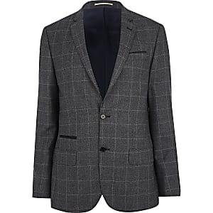 Dark grey check slim suit jacket