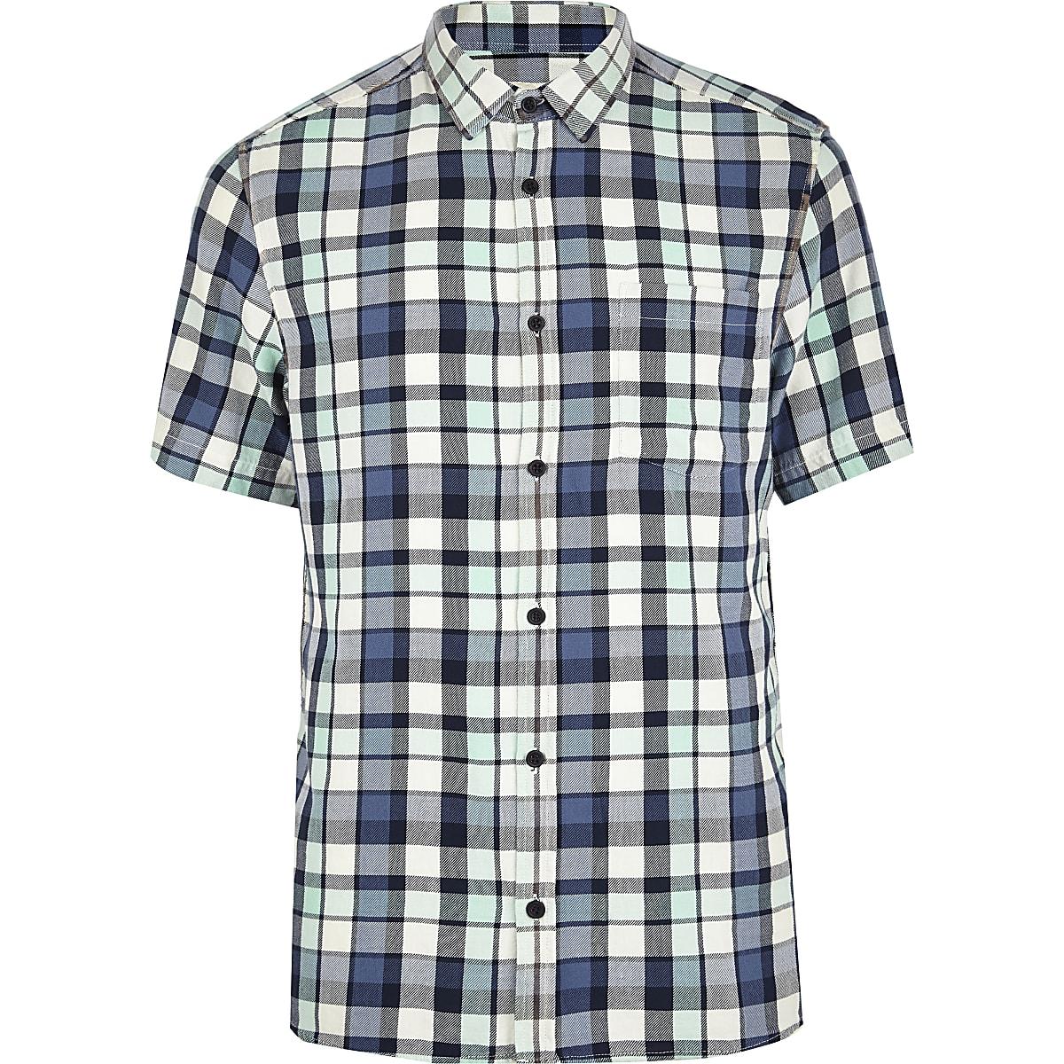 Black washed check short sleeve shirt