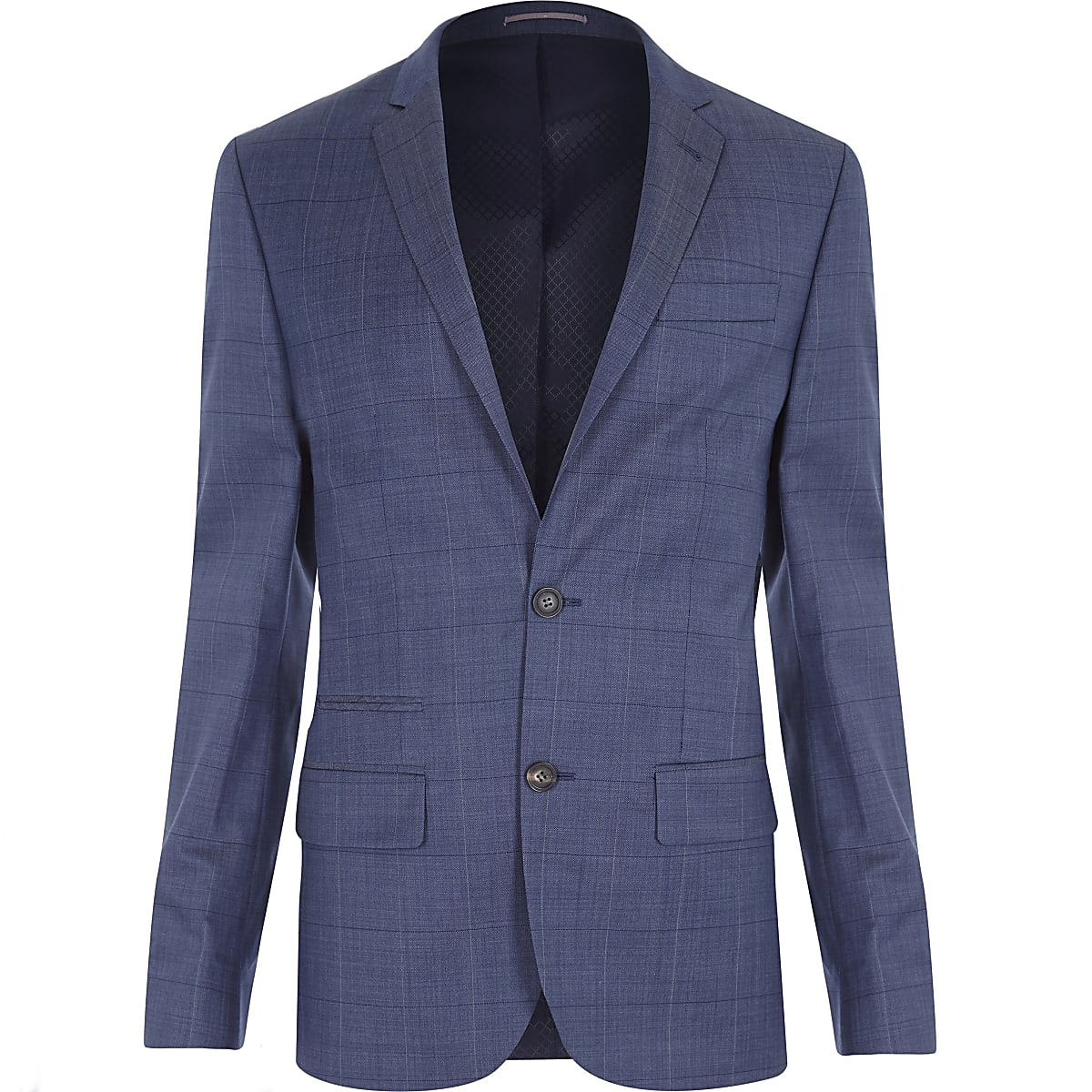 Light navy check slim fit suit jacket