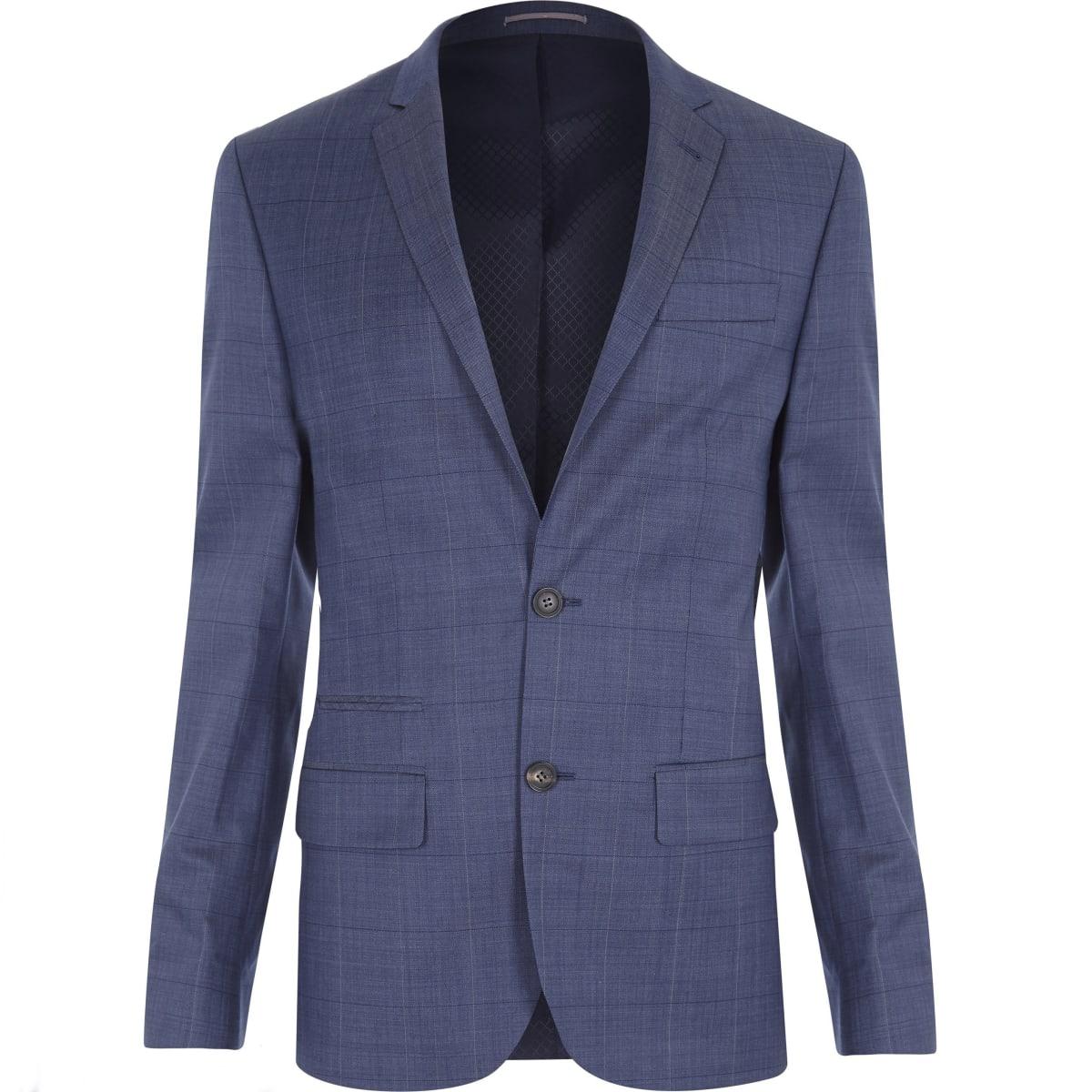 Light navy check slim fit suit jacket