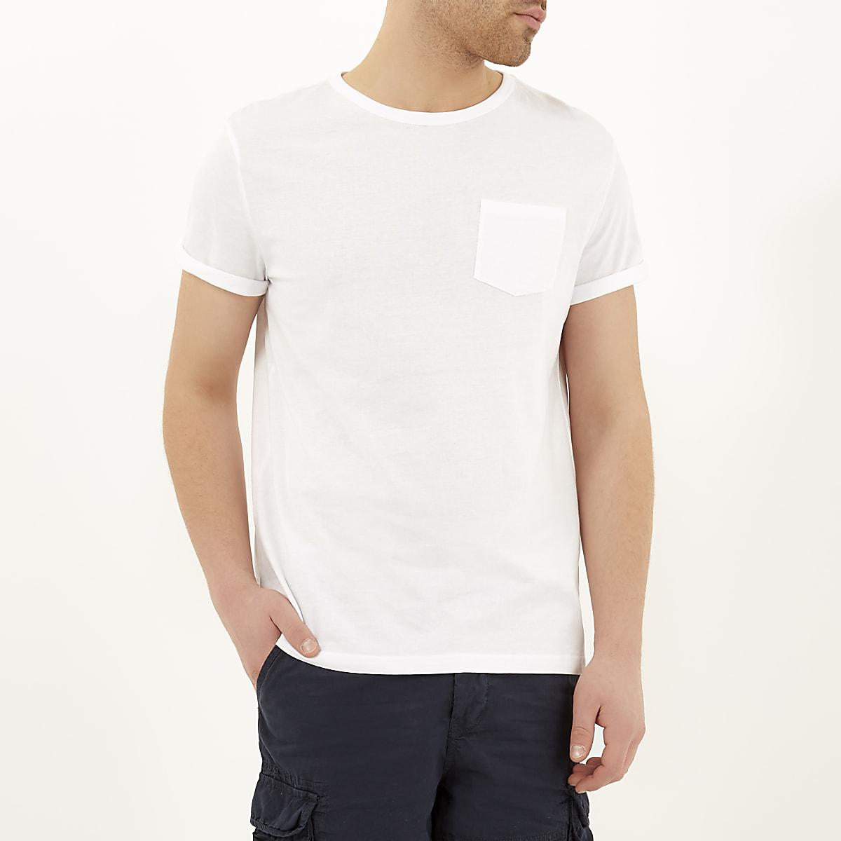 White pocket rolled sleeve T-shirt