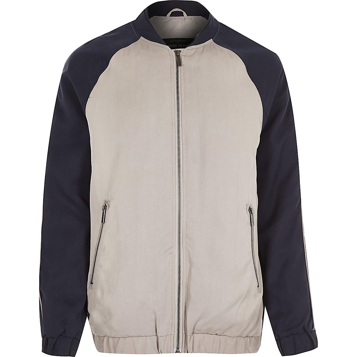 Navy longer length Tencel bomber jacket