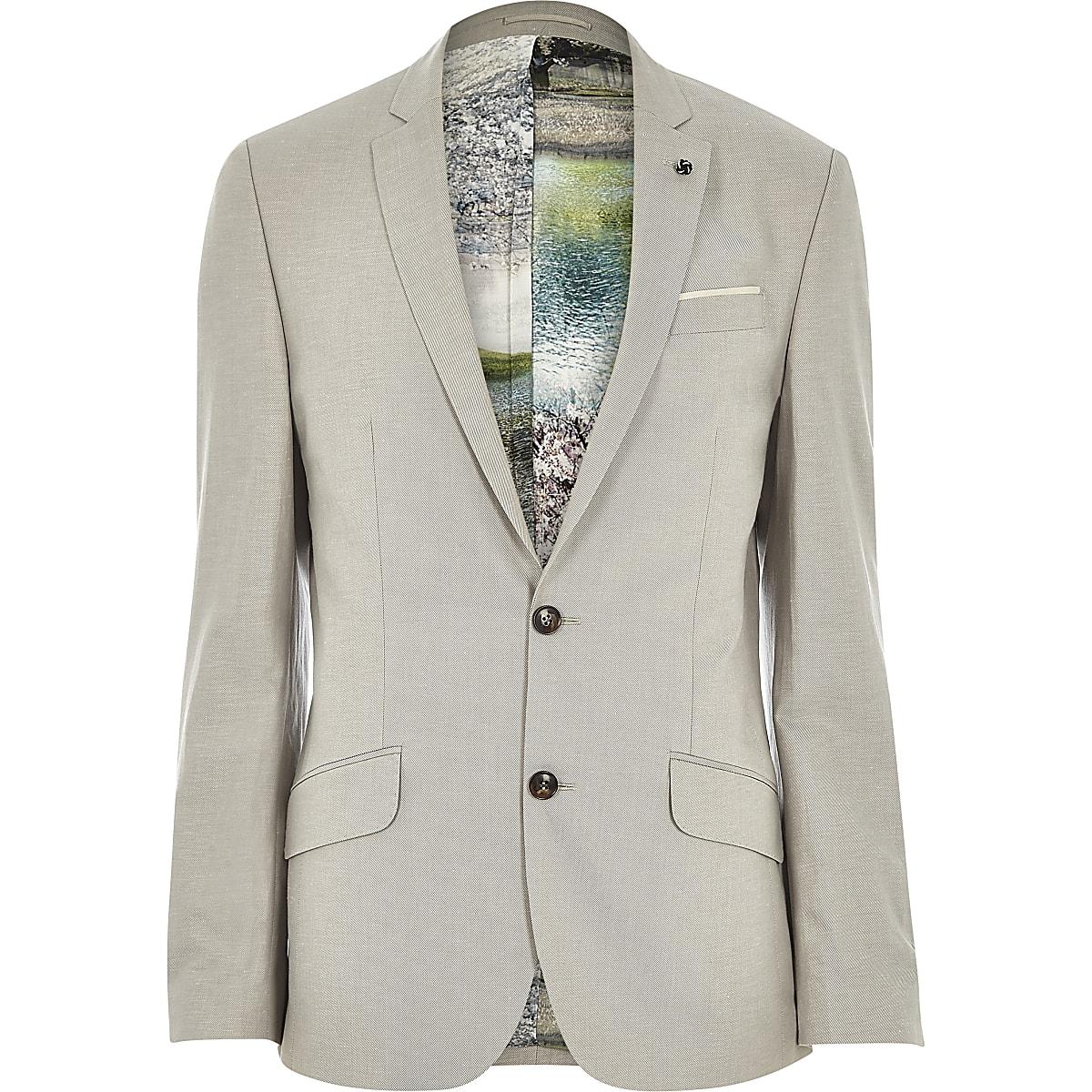Veste de costume cintrée en lin mélangé beige imprimé
