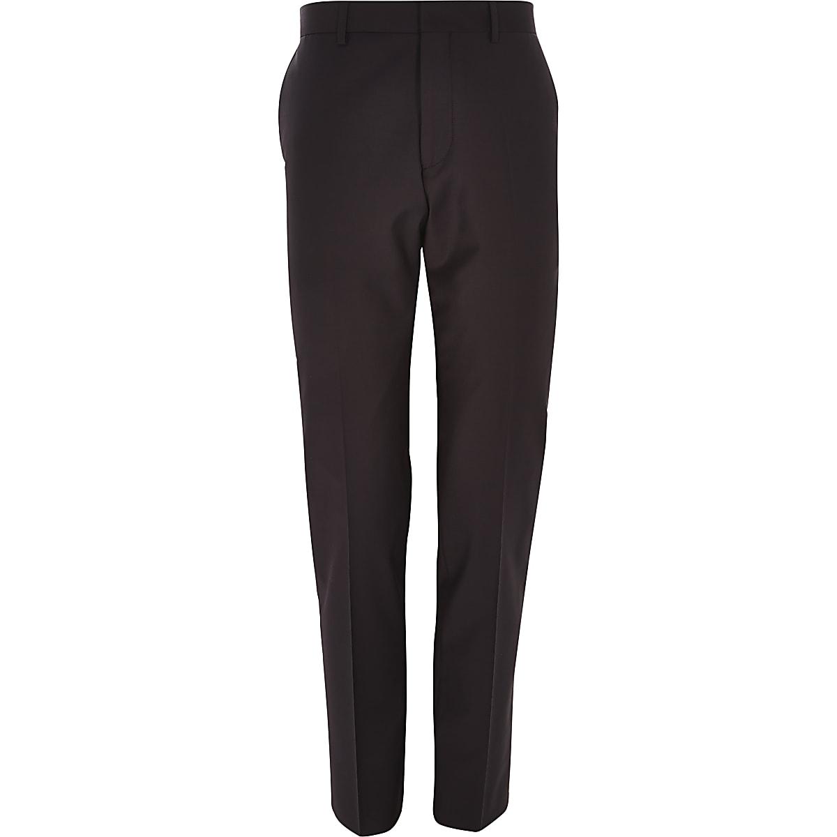 Purple wool-blend slim suit pants
