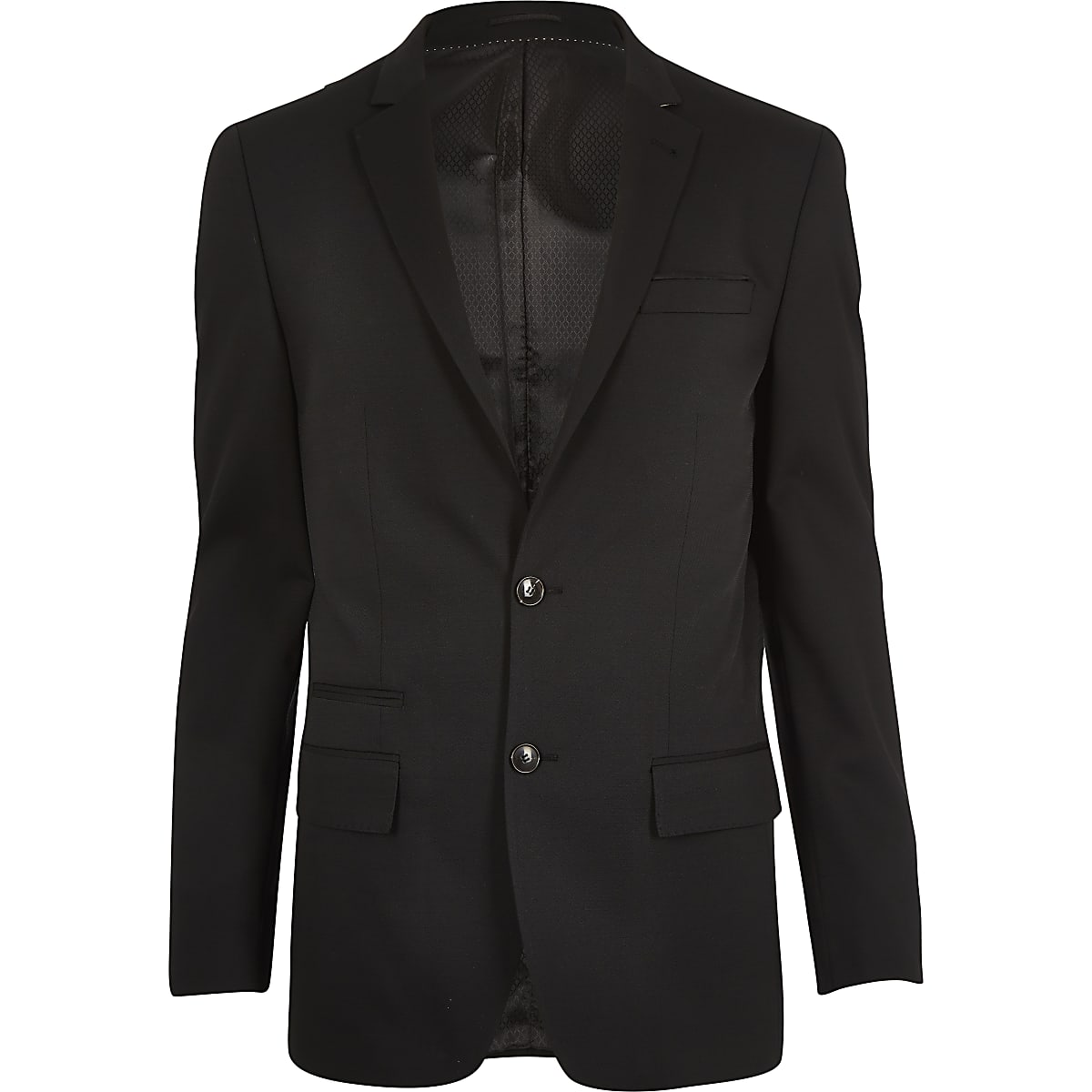 Veste de costume cintrée en laine mélangée microtexturée noire