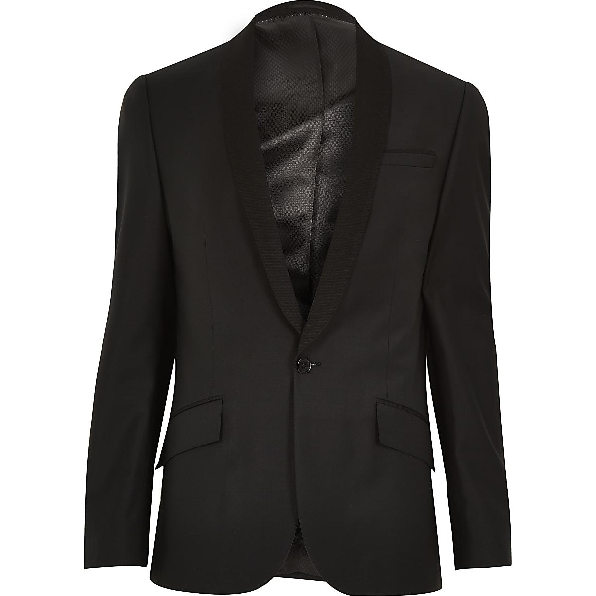Schmal geschnittene Anzugjacke mit geripptem Revers aus Wollle