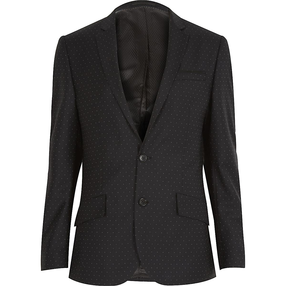 Black polka dot wool slim tux jacket