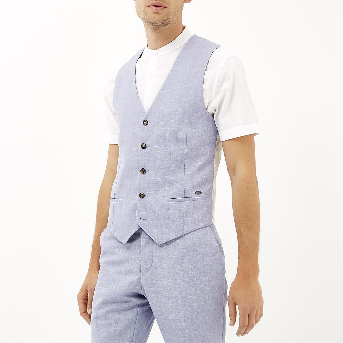 Blue paisley lined waistcoat