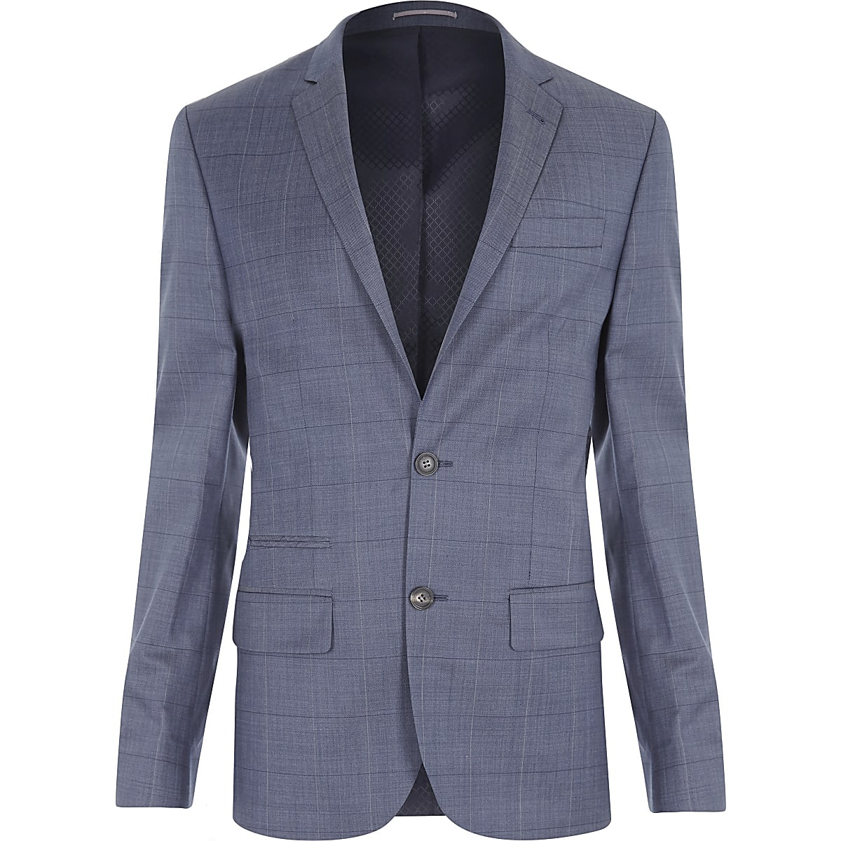 Blue checked slim suit jacket
