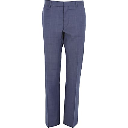 Blue check wool-blend slim suit trousers
