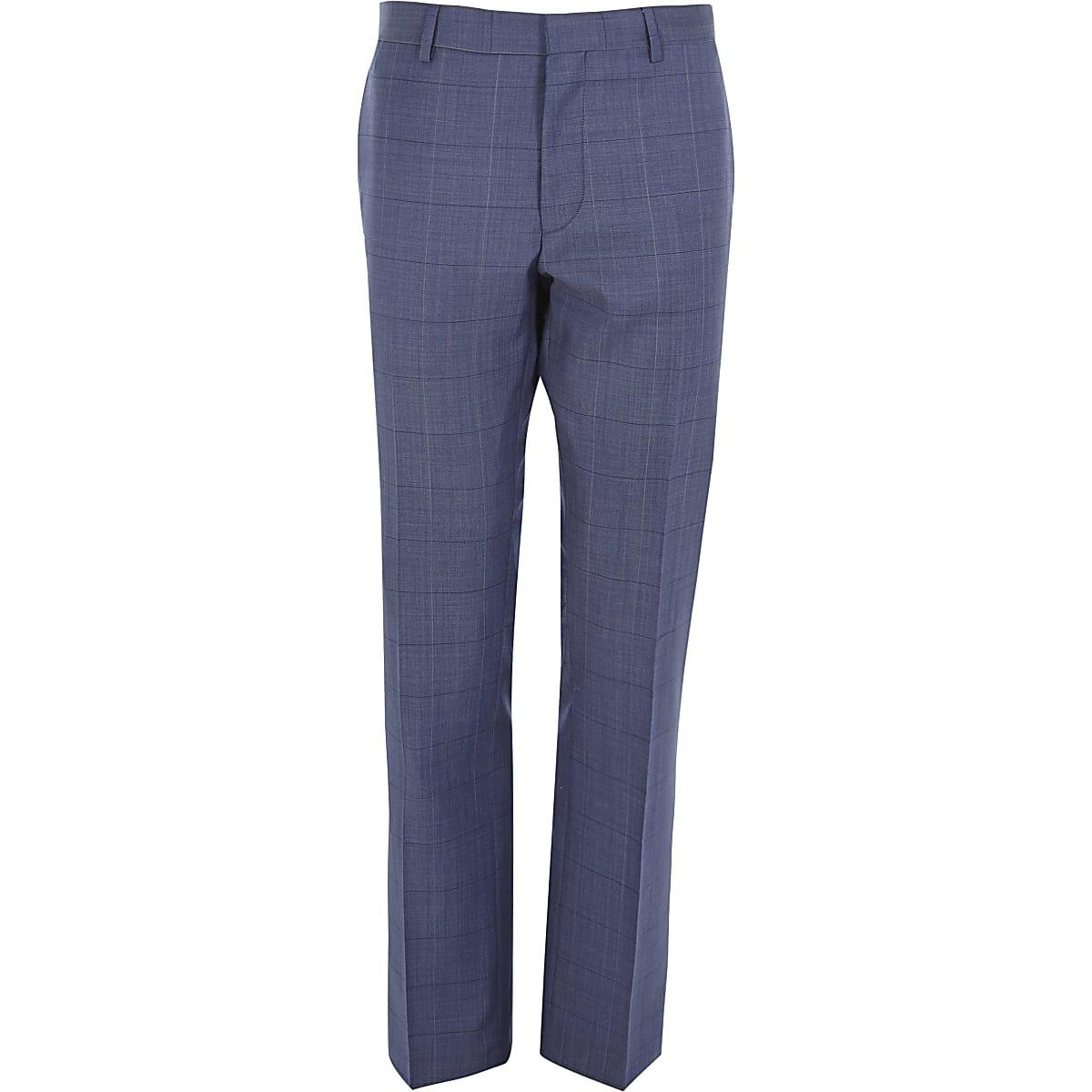 Blue check wool-blend slim suit pants