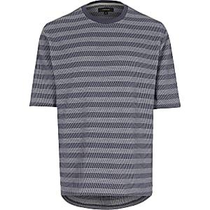 Navy jacquard stripe curved hem t-shirt