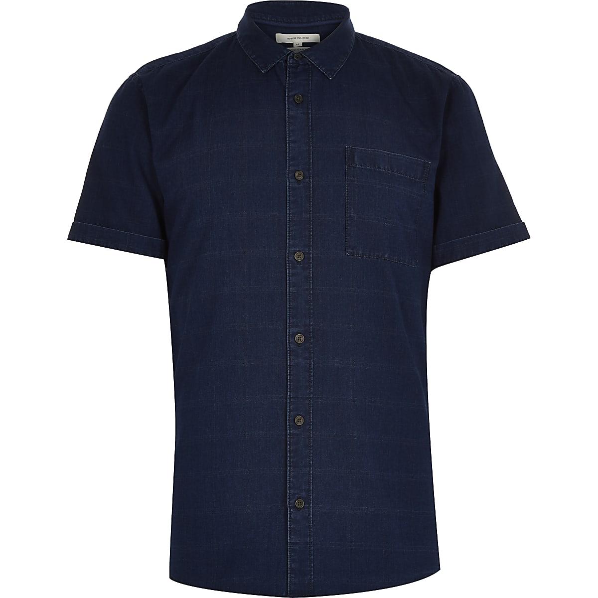 Chemise en jean imprimé quadrillage bleu marine à manches courtes