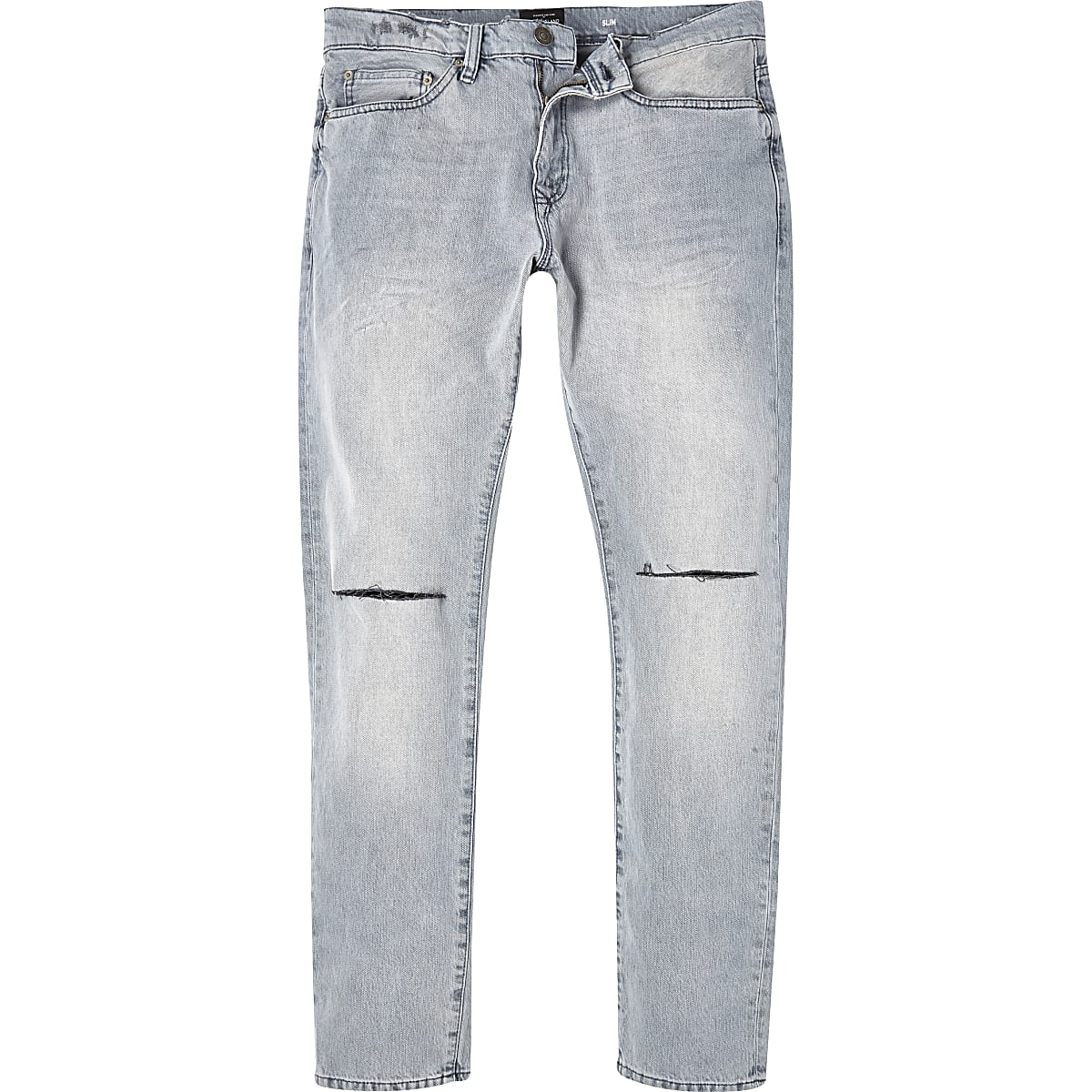 Grey wash ripped Dylan slim jeans