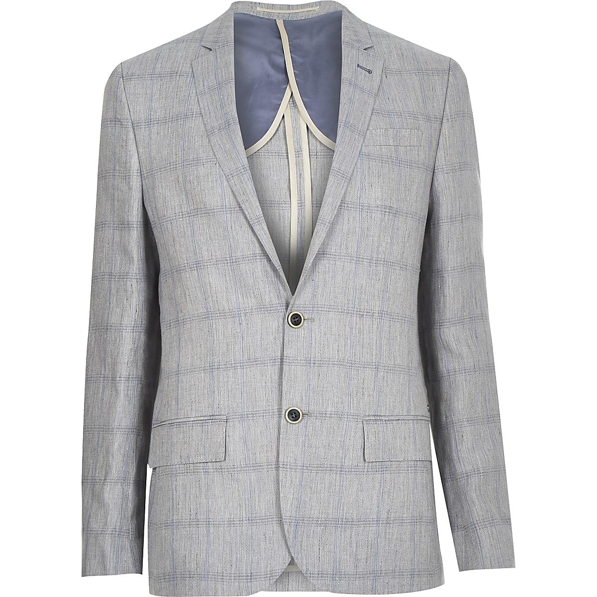 Grey check linen-blend blazer