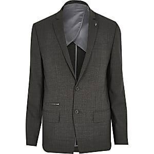 Grey check wool-blend slim suit jacket