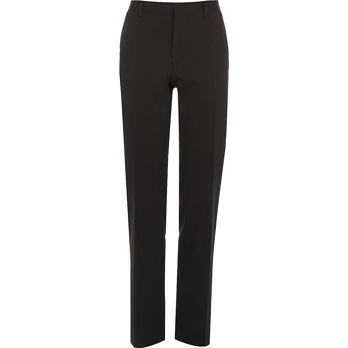 Black wool-blend slim suit trousers