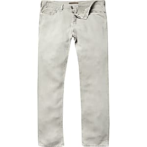 Light khaki linen-blend pants