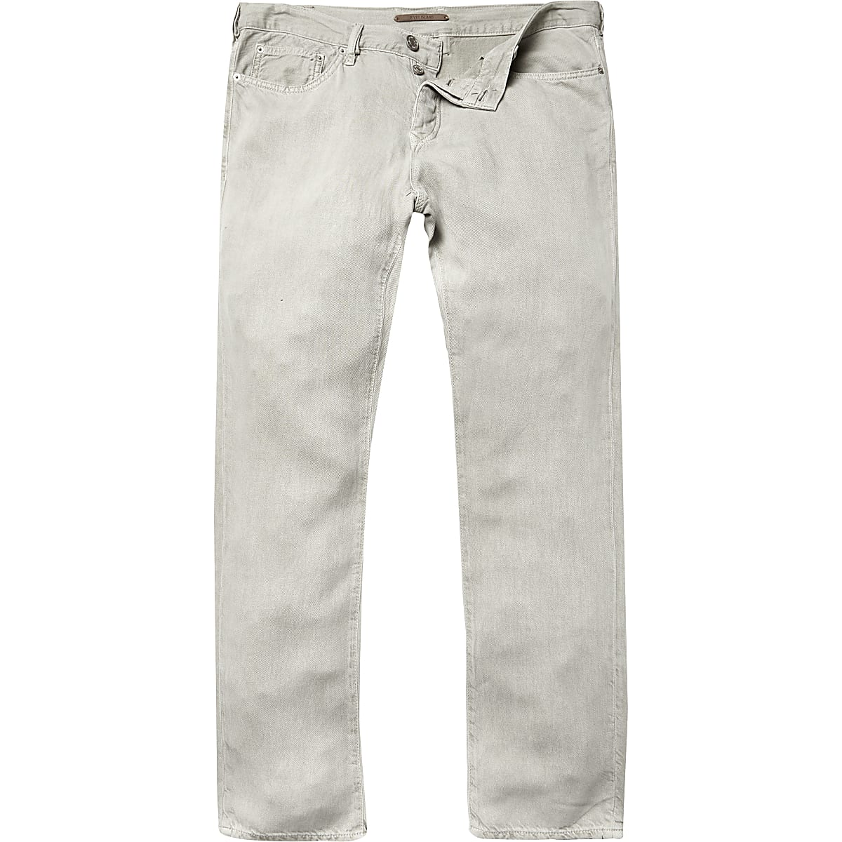 Light khaki linen-blend trousers