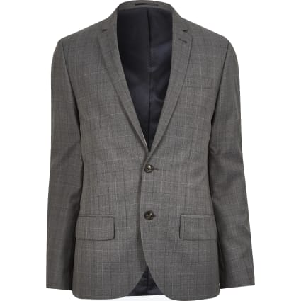 Grey check wool-blend slim jacket