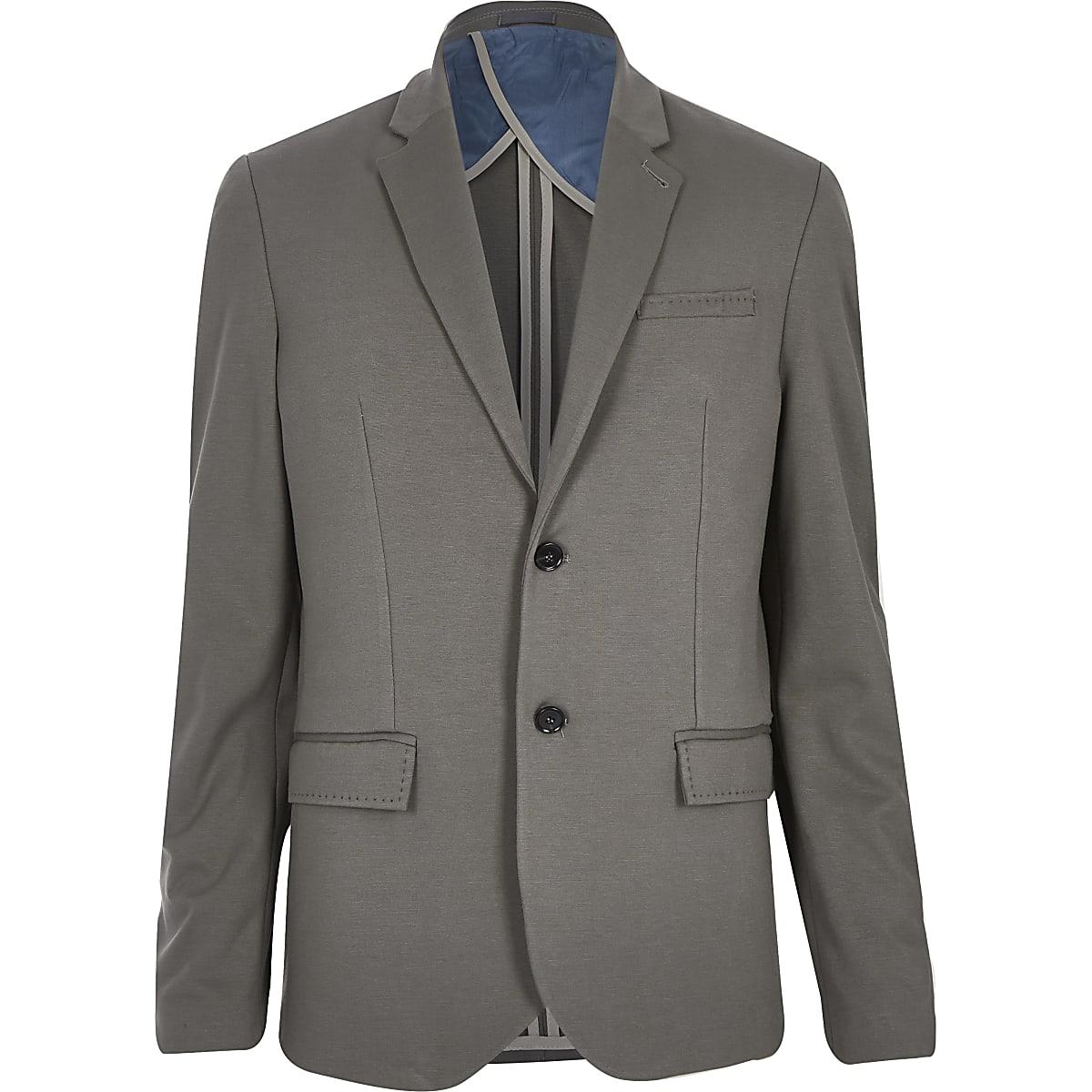 Mink brown jersey slim blazer
